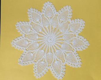 Very Fine White Cotton Crochet Doylie.