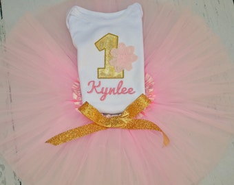 Pink and Gold Flower Birthday Outfit - Girls 1st 2nd 3rd 4th Birthday Bodysuit or Shirt - Personalization Included - Optional Bow and Tutu
