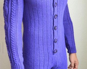 Hand knitted men's onesie