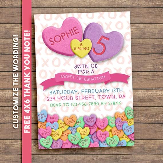 Valentines Birthday Party Invitation, conversation hearts, printable invitation