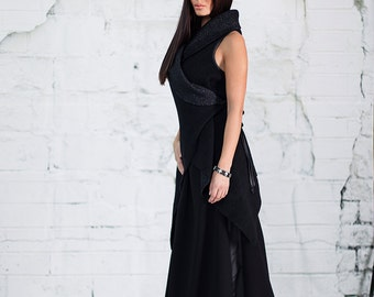 Free line black skirt / Black maxi skirt / Long black skirt /