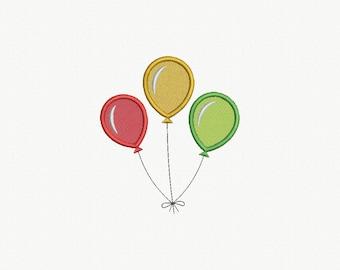 Balloons Applique Machine Embroidery Design - 3 Sizes