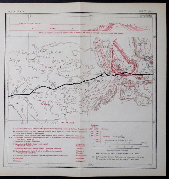 1915 Railroad Map Wyoming Rawlins Grenville Knobs