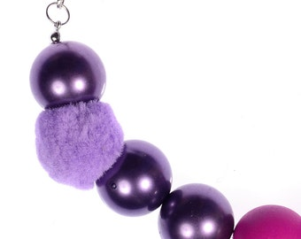 Romantic Girl (Purple, Pink) Chunky Beaded Necklace for Night Dress or Dinner Party