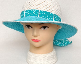Birthday Gift for wife gift for women Polka dots hat Summer Hat Women Sun Hat Womens Hats Brim hat Beach Hat Tea Party hat turquoise