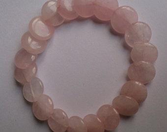 Rose Quartz Disk Crystal Stretch Bracelet