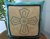 Unique Spanish Cross Accent Pillow-Southwest Style Decorative Pillow -Hand Embroidered