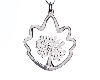 Sterling Silver Tree of Life Pendant Necklace Spiritual Jewellery Yogi Jewellery Handmade Free delivery