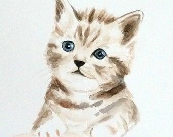 Original Watercolor Painting Kitten, Kitten Painting, 8x10, Watercolor Cat Painting, Cat Art