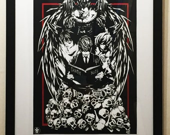 Death Note poster print Light Yagami Shinigami Ryuk Light and Death