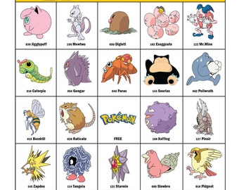 Pokemon Bingo Cards — 20 Unique Cards with EXTRA LARGE calling cards for little hands — Instant Digital Download