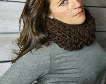 Crochet Infinity Scarf, Crochet Cowl Scarf, Circle Scarf, Loop Scarf, Brown Infinity Scarf - Can be worn 2 ways!