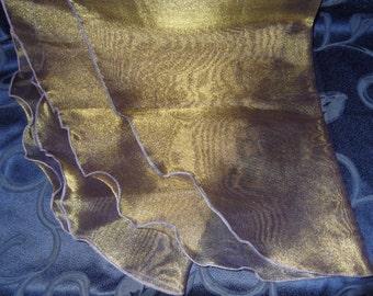 Lurex Gold Purple Sheer Organza Wrap, Shawl