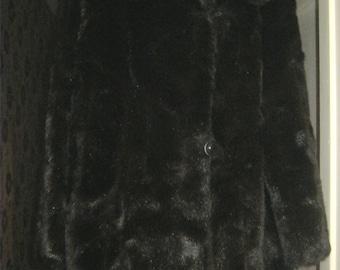 70's Faux Fur Jacket 3/4 Coat by Maestromink - size 16 UK