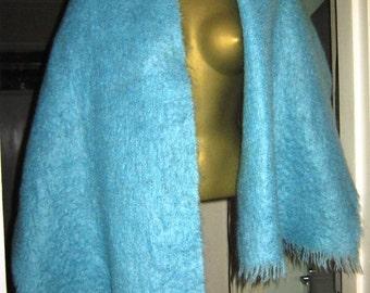 1970's Sky Blue Mohair Shawl Wrap