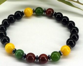 Reggae Bracelet, Healing Bracelet, Rasta Bracelet, Rasta Colors Bracelet, Onyx Bracelet, Gemstone Bracelet, Yoga Bracelet, Mala Bracelet
