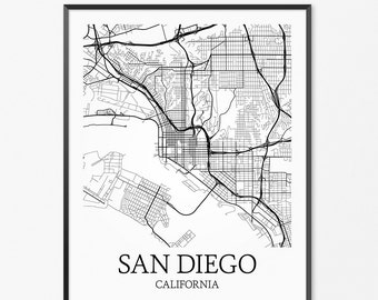 San Diego Map Art Print, San Diego Poster Map of San Diego Decor, San Diego City Map Art, San Diego Gift, San Diego California Art Poster