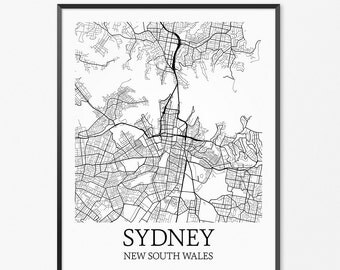 Sydney Map Art Print, Sydney Poster Map of Sydney Decor, Sydney City Map Art, Sydney Gift, Sydney Australia Art Poster