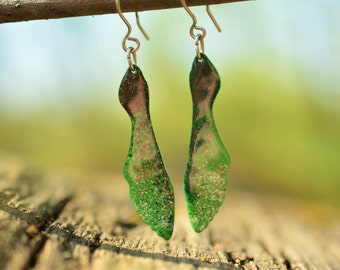 Maple Seed Earrings, Natural Statement, Maple Earrings, Plant Earrings, Plant Jewelry,  Bright Jewelry, Bright Colors, Fun Bright Earrings