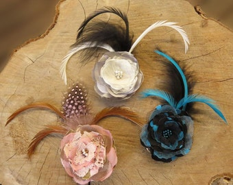 Hair Accessory, Hair Clip, Hair Flower, Gifts for Her, Beaded Flower. Available in Black and Blue, Pink and Brown or Grey and Cream.