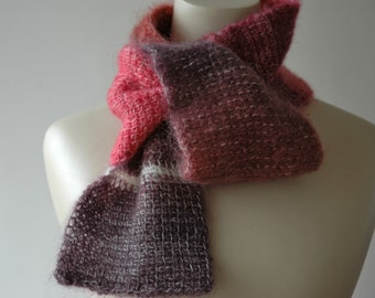 Skinny scarf in shades of pink and purple mohair wool - ready to ship