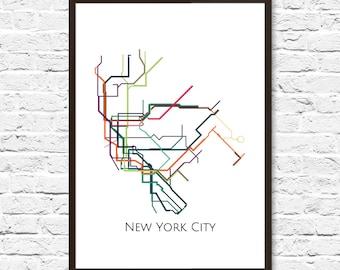 New York City, New York Metro Map, NYC Subway Map, Transit Map, NYC Map Art, New York Subway Map, Subway Poster Art, New York Subway