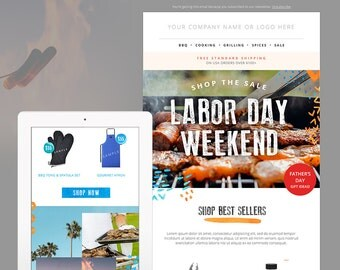 BBQ/Summer E-mail Newsletter Template PSD - E-commerce Newsletter Blast Template - E-mail Blast Template - Instant Download