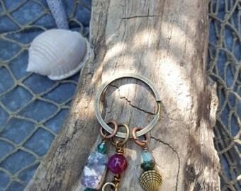 Hamsa Keychain - Hamsa Purse Accent - Yoga Accessory - Chakras - Love and Light - Bronze Hamsa Pendant - Gifts Under 20 - Gifts For Her