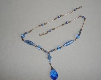 A Beautiful Vintage Art Deco Czech Blue Glass with Foil Lavalier Necklace - Lovely Cornflower Blue Drop