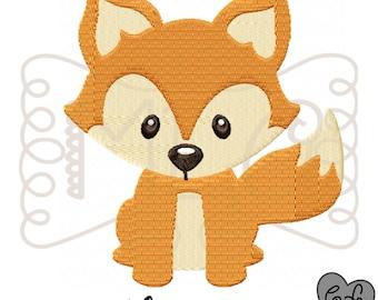 Fox embroidery file 4x4 5x7 - jef file - pes file - monogram embroidery shirt - fox shirt - monogram frame - woodlands theme embroidery