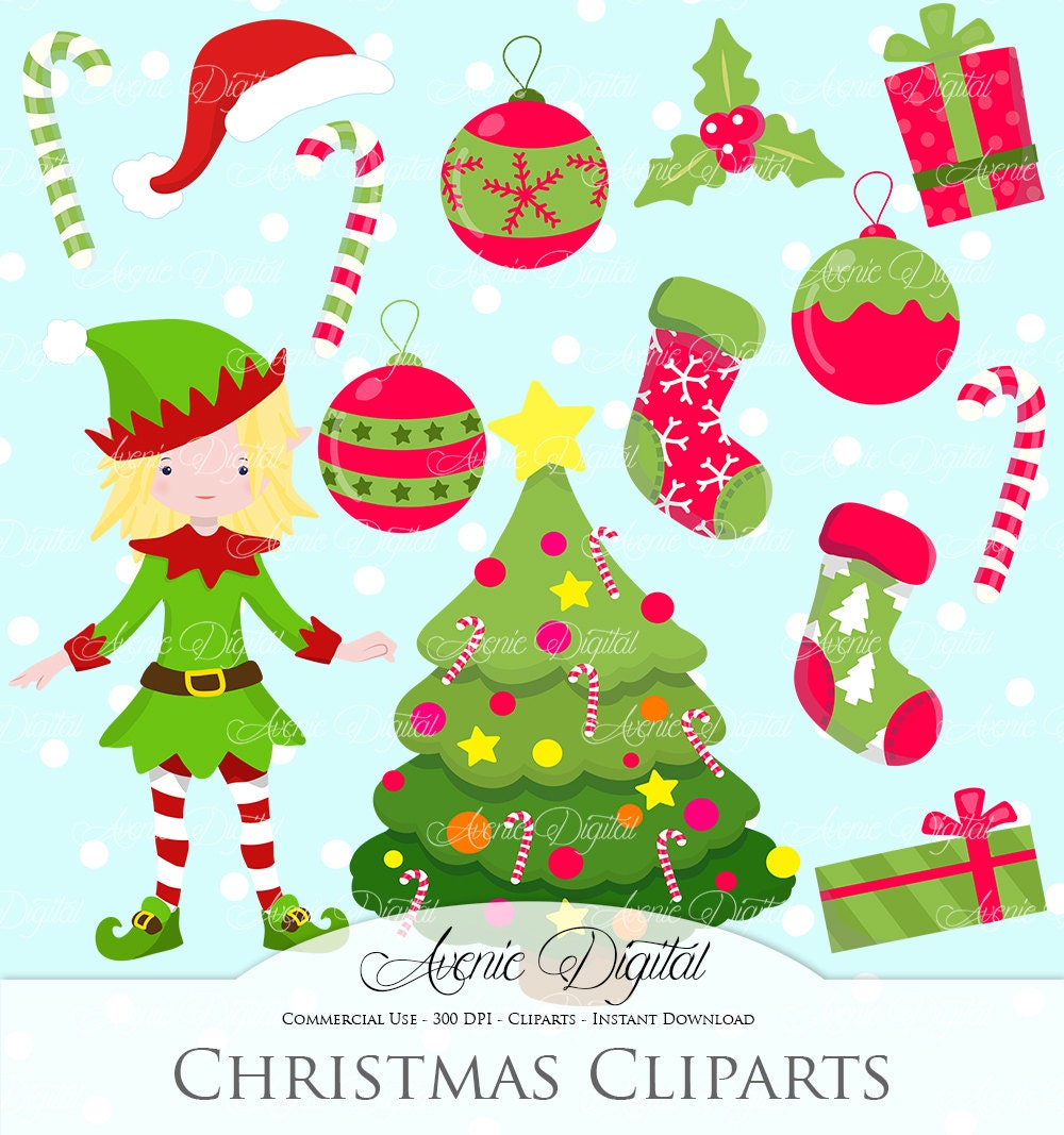 Christmas decoration clipart scrapbook printables holiday for Decoration clips