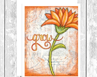 "NOTECARD: Flourishes in Print - Grow, Orange Daisy 4.25"" x 5.5"" A2 Greeting Card, Gift for Her, Gift for Friend, Gift for Flower Lover"