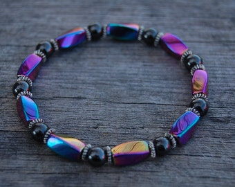 Rainbow Multicolor Magnetic Hematite Bracelet,Man,Woman,health,Healing,Relieve,Protection,Meditation,Yoga,Boho,Energy,Stretch,Man,Woman,Gift