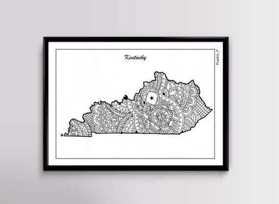 Kentucky Map Coloring Page For Adults Instant Download