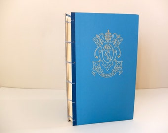 Vintage Journal   Coptic-stitch   Upcycled Old Book   Blue & Gold