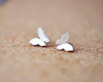 Butterfly Stud Earrings,Sterling Silver Earrings,Insect Earrings,Butterfly Wing Earrings,Mini Butterfly Studs,Petite Butterfly Studs