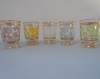 Vintage Harlequin Frosted Lemonade Glasses - Set of Five  #10066