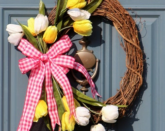 Yellow Tulip Floral Wreath , Large Summer Tulip Wreath ,  Floral Summer Door Decor , Front Door Wreath , Outdoor Wreath , Housewarming Gift