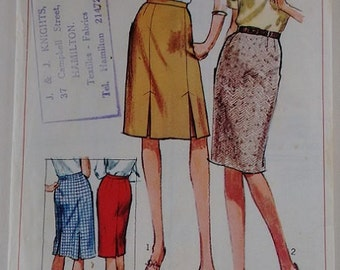 Vintage 1960's Simplicity 6336 Sewing Pattern Mod Knee Length Tailored Skirt 2 Options
