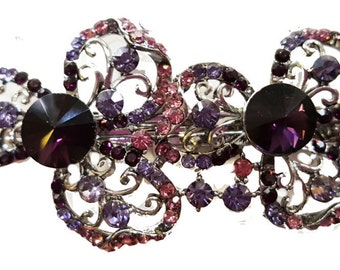 New Silver With Amethyst Crystal Floral  Hair 3  '' Barrette- Lever Back