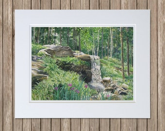 Woodland Waterfall, Coastal Maine Botanical Gardens - Boothbay, Maine - Giles Rhododendron Garden - Original Watercolor Paintings