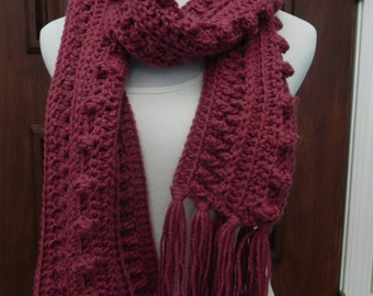 Handmade Crochet Women's / Junior's Mauve Irish Popcorn Cable Fringed Scarf