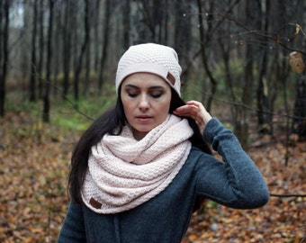 Alpaca wool honeycomb infinity scarf, knit textured snood, knitted gray, cream rose, beige,  black, white, navy,brown circle scarf for women