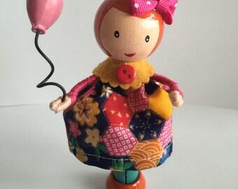 Handmade peg doll/ clothespin doll cake topper (PG17)