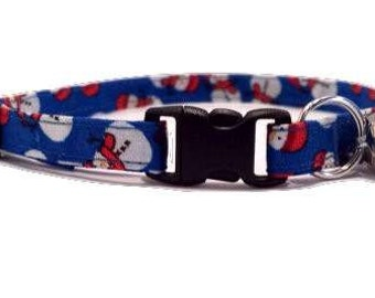 Blue Snowman Cat or kitten Collar Christmas Red Cotton Break Away Buckle Quick Release olaf frosty winter holiday