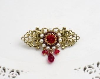 Gift for mother, Crystal brooch, Red brooch, Flower brooch, Floral brooch, Vintage style jewelry, Gift for grandmother, Swarovski brooch