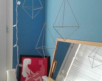 set of 3 geometric mobile - size L | HIMMELI mobile | modern art sculpture | brass gold ornament | diamond drop shape