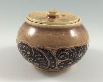 Handmade Pottery Jar,  Sugar Jar, Herb Jar, Sgraffito Pottery Jar, Hand Thrown Stoneware Pot with Lid