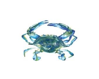 Blue Crab Watercolor Beach Art Print / Beach Art / Maryland Crab Gift / Beach Lover Gift / Crab Art / Watercolor Crab