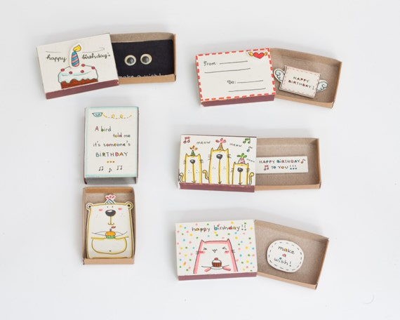 special birthday cards set of / bulk birthday card/ matchbox, Birthday card